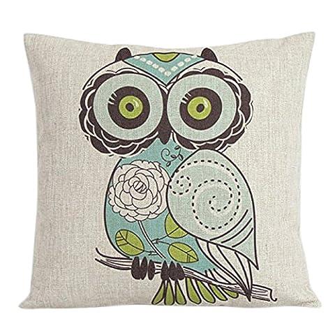 Bluelans® 42cm x 42cm Square Cotton Linen Cushion Cover Owl Printed Decorative Throw Pillow Case (Owl)