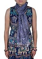 Mujeres del resorte del otoño de la bufanda azul - 100% de Paisley de sintético largo de la bufanda de las niñas