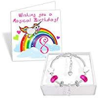 Girls 8th Birthday Sparkly Charm Bracelet with Gift Box and Card Kids Jewellery (Fuchsia & Silver)