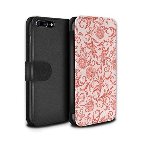 Stuff4 Coque/Etui/Housse Cuir PU Case/Cover pour Apple iPhone 7 Plus / Fleurs Vertes Design / Fleurs Collection Fleurs Rouges