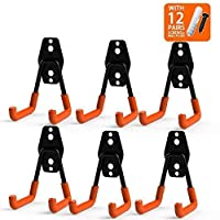 CoolYeah Steel Garage Storage Utility Double Hooks, Heavy Duty for Organizing Power Tools,Small U Hooks (pack of 6, 2 × 2.8 × 4.2 inches)