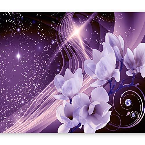 murando - Fototapete 350x256 cm - Vlies Tapete - Moderne Wanddeko - Design Tapete - Wandtapete - Wand Dekoration - Blumen Magnolien Abstrakt Blitz Diamant Violett b-A-0237-a-d -