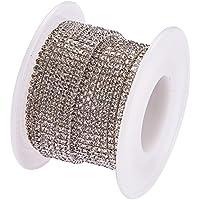 BENECREAT 10 yardas de diamantes de imitacion de cristal cierre de cadena claro recortar garra cadena de costura artesanal sobre 2880 piezas de diamantes de imitacion, 2 mm - plata (parte inferior de plata)