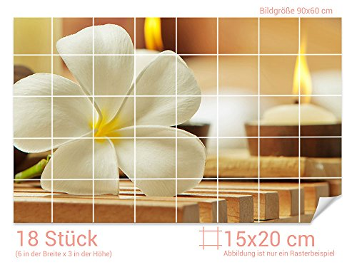 Graz Design 761644_15x20_60 Fliesenaufkleber Frangipani-Blüte/Kerzen   Wand-Deko für Bad/Küchen-Fliesen (Fliesenmaß: 15x20cm (BxH)//Bild: 90x60cm (BxH))
