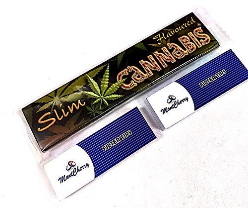 Cannabis - 5 confezione di cartine per sigarette, aromatizzate alla cannabis, King size