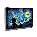 Nerdinger Mario Stars Night - Kunstdruck auf Leinwand (60x90 cm) zum Verschönern Ihrer Wohnung. Verschiedene Formate auf Echtholzrahmen. Höchste Qualität.
