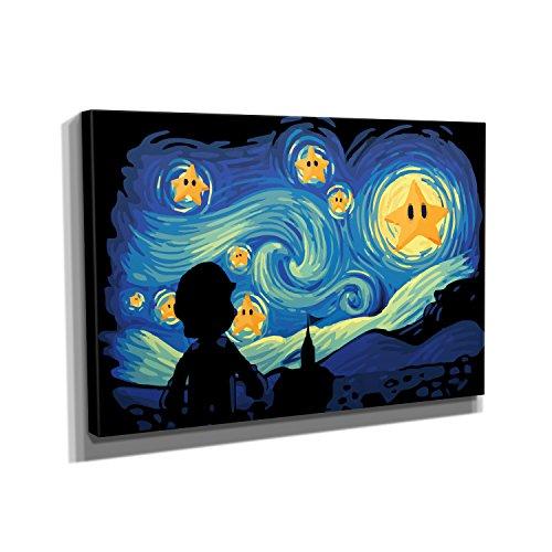 Mario Stars Night - Kunstdruck auf Leinwand (60x90 cm) zum Verschönern Ihrer Wohnung. Verschiedene Formate auf Echtholzrahmen. Höchste Qualität. Videospiel-leinwand