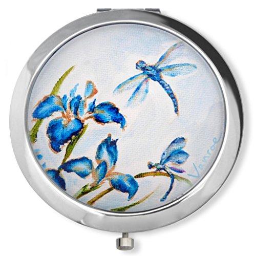 Miroir compact de luxe 'Iris bleu et libellule' par Vanroe, avec boîte-cadeau - Designer britannique, Grossissant, Idée pour Cadeau d'Anniversaire