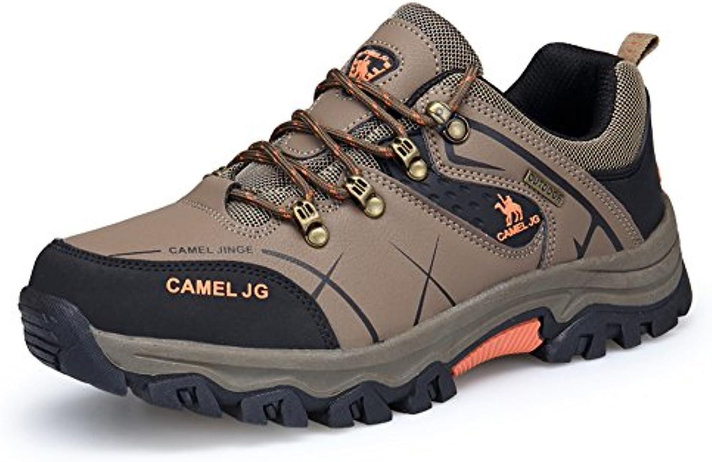 GOMNEAR Trekking y Zapatos de Senderismo Hombre Cuero Caminando Al Aire Libre Zapatos de Baja Altura