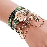 SHOBDW - Relojes de pulsera de metal y correa para mujer, de moda, diamantes de imitación, novedad, mujeres (Verde)