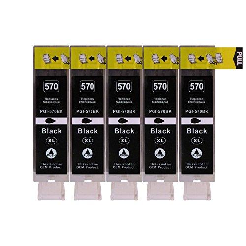 5 Druckerpatronen kompatibel zu PGI-570BK Text Schwarz für Canon Pixma MG7750 MG7751 MG7752 MG7753 MG6850 MG6851 MG6852 MG6853 MG5750 MG5751 MG5752 MG5753