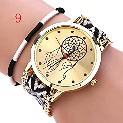 S&E? Women's National Style Gold Plated Dial Plate Knitting Strap Wrist Watch with Coloured Ribbon