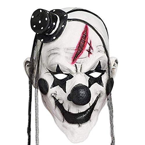 Oyamihin Faroot Deluxe Horrible Scary Clown Maske Erwachsene Männer Latex Weißes Haar Halloween Clown Böser Mörder Dämon Clown Maske - Schwarz & Weiß