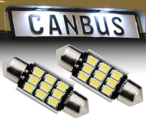 B501 2x 36mm C5W 9x 2835SMD CanBus LED Soffitten Xenon Look Kennzeichenbeleuchtung Nummernschildbeleuchtung Weiß ohne Fehlermeldung