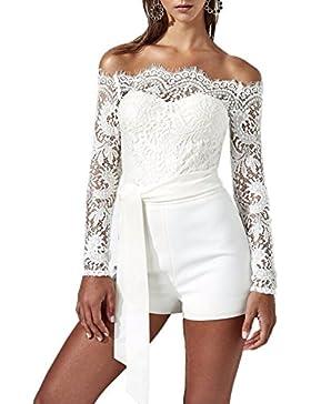 Estivo Moda Monopezzi Sexy Scollo Donna a Barca Manica Beachwear Lunga Tutine Intere Bianco Pizzo Cucitura Bandage...