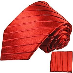 Rote Krawatten Set 2tlg schwarz 100% Seidenkrawatte (extra lang 165cm) + Einstecktuch by Paul Malone