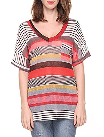 Liqy Women Colourful Striped Summer Short Sleeve V-Neck Blouse Tops Shirt