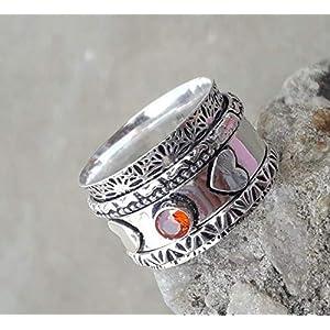Meditationsringe, Spinnerringe, Silberringe für Frauen, Beautiful Designer Spinning Ring for Women, Garnet Spinner Band…