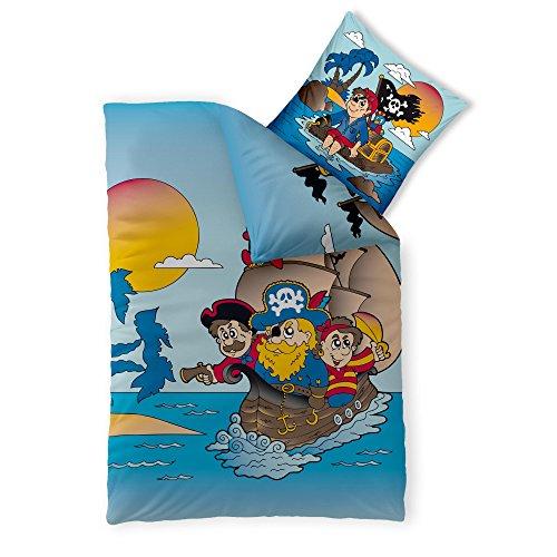 2-tlg. Kinder-Bettwäsche 135 x 200 cm Baumwolle Renforcé 4-Jahreszeiten CelinaTex Bettbezug Fashion Fun 0003361 blau gelb rot schwarz Pirat Schiff (Blau Und Gelb Bettbezug)