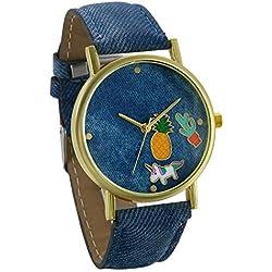 JewelryWe Relojes de Mujer con Dibujos Piña y Unicornio Reloj Analogico Correa de Cuero Azul Ligero, Simpatico Reloj de Pulsera para Chicas, Original Regalo de Amistad