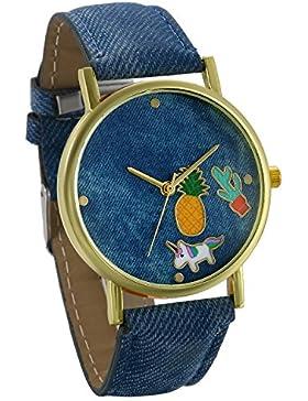 JewelryWe Damen Frauen Armbanduhr, Einzigartig Mode Analog Quarz Uhr Cowboy Denim Leder Band Quarzuhren mit Cartoon...