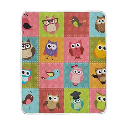 COOSUN Patchwork Owls Super Weiche Warme Decke Leichte Werfen Decken für Bett Couch Sofa Reisen Camping 60x50 Zoll für Kinder Jungen Mädchen Owl Decke Werfen