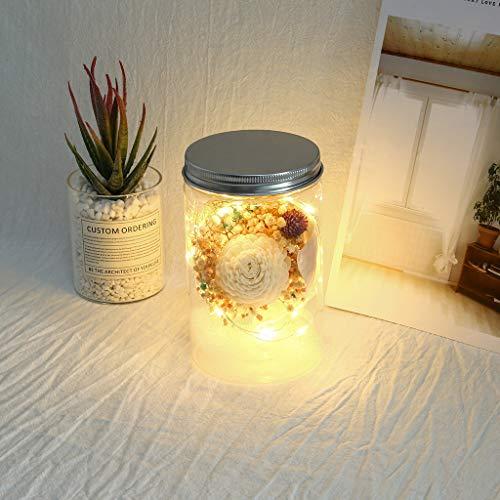 Gaddrt Blumenstrauß künstlich im Glas, LED Lichterketten Lichter Künstliche Blumen Romantisch Geschenk zum Geburtstag Jahrestag Weihnachten Dekoration (Blue)