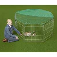 VivaPet Outdoor Octagon Rabbit Run Cage Pen with Sun Protection Net Cover, 55-inch, Assorted Color, Black or Silver