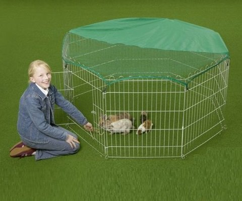 vivapet-outdoor-octagon-rabbit-run-cage-pen-with-sun-protection-net-cover-55-inch-black-silver