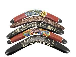 Lot de 5 bumerang boomerang en bois décoratif wurfspiel australie type serpent bummerang gecko s1 éléphant multicolore