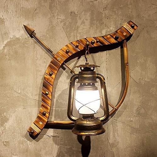 STERA Lámpara de Pared de un Solo Color, Industrial, Vintage, Retro, de Metal y de Madera, for Pintar en el Pasillo del Hotel