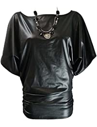 Home of Fashion Black PVC Wet Look Batwing Sleeve Slouch Tunic Top