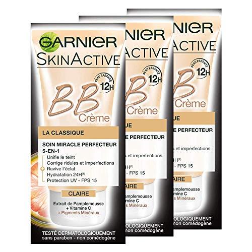 Garnier SkinActive BB Crème La Classique Claire - Soin Miracle perfecteur 5-en-1 - Lot de 3
