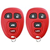 KeylessOption Keyless Entry Remote Control Car Key Fob Replacement for 15252034 Pack of 2 Red
