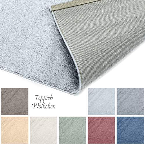 Designer-Teppich Pastell Kollektion | Flauschige Flachflor Teppiche fürs Wohnzimmer, Esszimmer, Schlafzimmer oder Kinderzimmer | Einfarbig, Schadstoffgeprüft (Grau, 120 x 170 cm)
