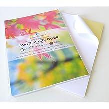 100hojas de calidad A4blanco mate autoadhesivo etiqueta de/parte trasera adhesiva impresión hoja de papel