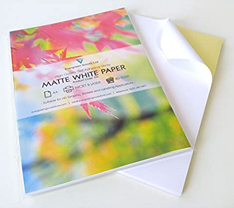 100 Sheets of Quality A4 White MATTE Self Adhesive /