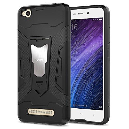 HOOMIL Negro Armor Funda para Xiaomi Redmi 4A Carcasa Shock-Absorción Silicona Case - Negro (H3208)