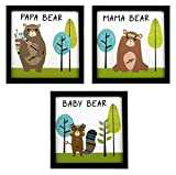 INDIANARA 3 PIECE SET OF FRAMED WALL HANGING KIDS ROOM DECOR ART PRINTS PAPA MAMA BABY (1052)8.7 INCH X 8.7 INCH WITHOUT GLASS