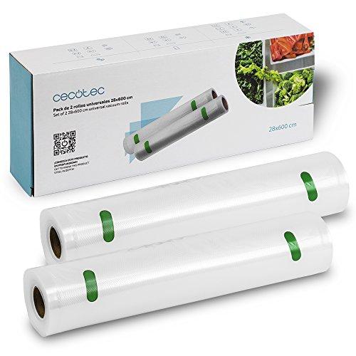 Cecotec Set de 2 Rollos gofrados Grandes para envasadoras al Vacío. 28 x 600 cm. Superficie gofrada, BPA Free