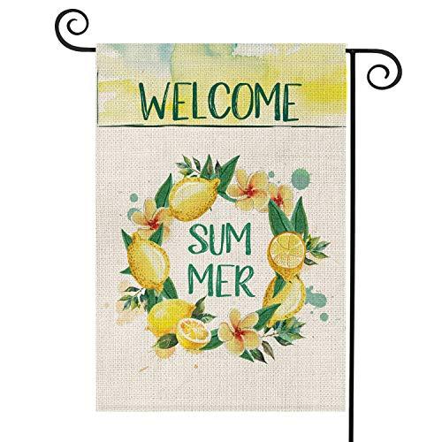 AVOIN Welcome Summer Lemon Kranz Garten Flagge vertikal doppelseitig tropisch rustikal hawaiianischer Bauernhof Jutehof, Dekoration für den Außenbereich, 31,8 x 45,7 cm (Winter-kranz Sackleinen)