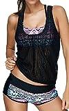 Leslady Damen Separable Badeanzüge Tankini mit 3-Teilig Sporty Neckholder Plus Größe Zwei Stück Badeanzug Mesh Schwimmen Kostüm ((EU 40-42) Size XL, PoP)
