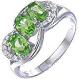 Sterling Silver Peridot 3 Stone Ring (1.15 CT)