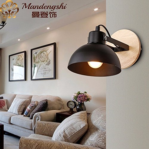 SKTDBG Escalera de madera colgada en la pared, lámpara de mesilla lámpara...