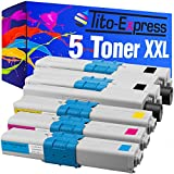 Kit 5 Toner XXL pour Oki C310 Noir Cyan Magenta Jaune PlatinumSerie MC351DN MC352DN MC361DN MC362DN MC561DN MC562DN compatible avec Oki 43865803 43865706 43865705 43865704