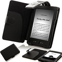 """ForeFront Cases® Funda cubierta de cuero sintético para con luz LED para lectura color Negro, Case Cover Para el Nuevo Amazon Kindle 4, pantalla de E Ink de 6"""" (15cm) color negro - 5th Generación"""