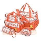Babyhugs Wickeltaschen Messenger Krankenhaus Mutterschaft Bag Set inkl. Tasche Organizer–orange mit Blumen