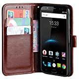 Raiphy Leder Brieftasche Hülle für Oukitel K3,Telefon schützender lederner Fall mit Einem Einbauschlitz und Standfunktion (Braun)