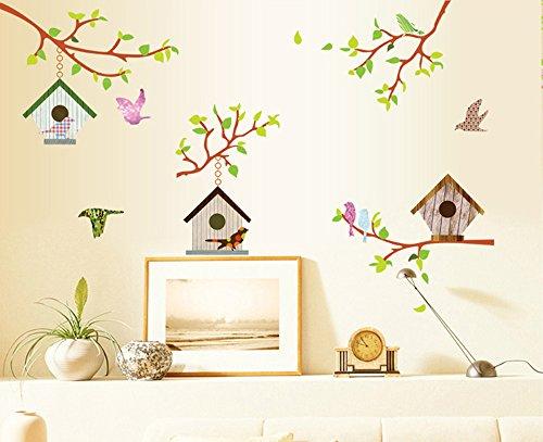 ufengke® Bunten Baum Reben Vogelhaus und Fliegende Vögel Wandsticker, Wohnzimmer Schlafzimmer Entfernbare Wandtattoos Wandbilder