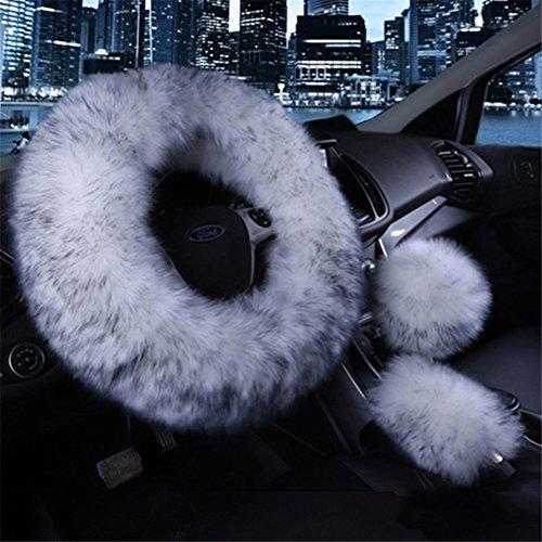 Preisvergleich Produktbild Silence Shopping Lenkrad Covers Wolle Handbremse Set Warm Winter Gear Shift Cover Auto Zubehör für alle Frauen 1 Set 3 Stück (Grau)